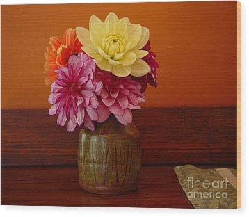 Dahlias Wood Print by Christopher Mace