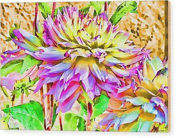 Wood Print featuring the photograph Dahlias In Digital Watercolor by Sandra Foster