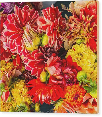 Dahlias Summer Color Wood Print