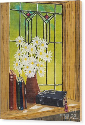 Daisies And Stained Glass Window Wood Print by Val Miller