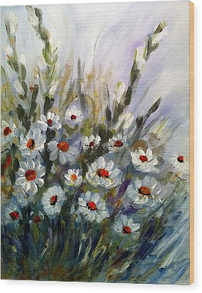 Daisies Wood Print by Dorothy Maier