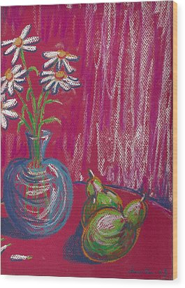 Daisies On Red Table Wood Print