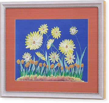 Wood Print featuring the painting Daisies by Ron Davidson