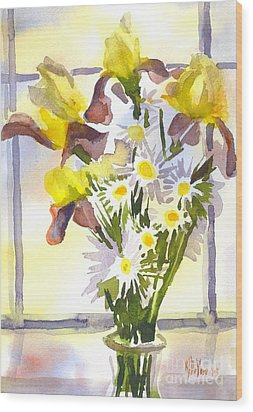 Daisies With Yellow Irises Wood Print by Kip DeVore