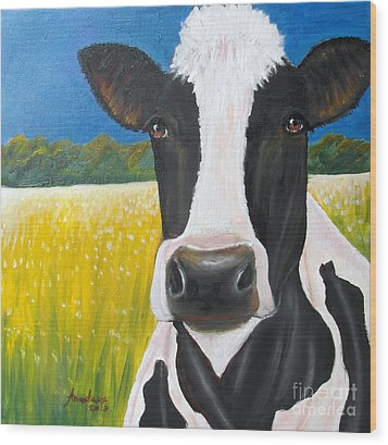 Daisy Cow Wood Print by Anastasis  Anastasi