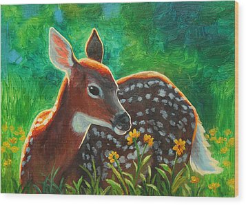 Daisy Deer Wood Print