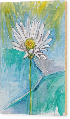 Wood Print featuring the painting Daisy Expression by Julie Maas