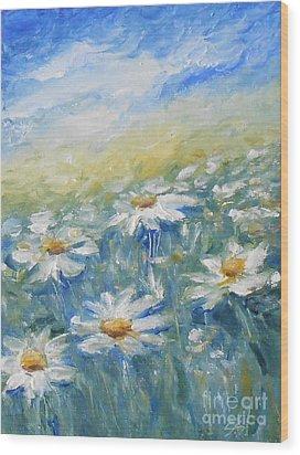 Daisies Wood Print by Jane  See