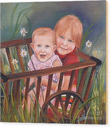 Wood Print featuring the painting Daisy - Portrait - Girls In Wagon by Jan Dappen