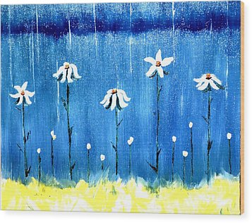 Daisy Rain Blue Wood Print
