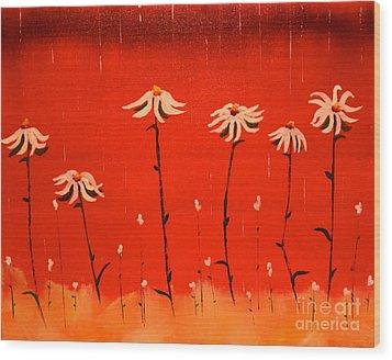 Daisy Rain Wood Print