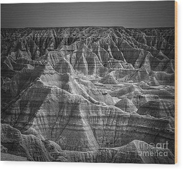 Dakota Badlands Wood Print by Perry Webster