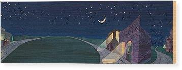 Wood Print featuring the painting Dakota Moon II by Scott Kirby