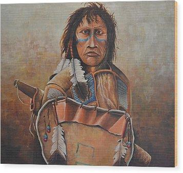 Dakota Warrior Wood Print by Martin Schmidt