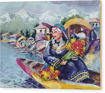 Dal Lake Jewel In The Crown Of Kashmir Wood Print by Donna Jolly Jacob