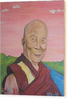 Dalai Lama Portrait Wood Print by Erik Franco