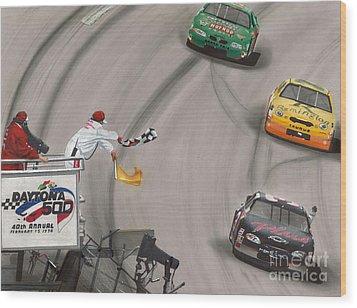 Dale Earnhardt Wins Daytona 500-checkered Flag Wood Print by Paul Kuras