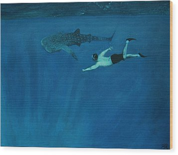 Dale Vs. The Whale Shark Wood Print by Patrick Kelly