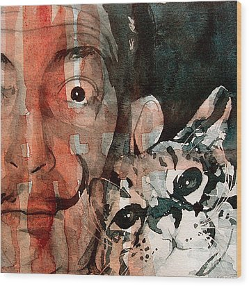 Dali And His Cat Wood Print by Paul Lovering