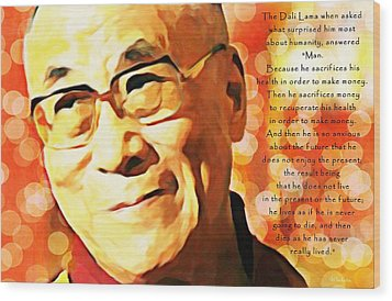 Dali Lama And Man Wood Print by Barbara Chichester