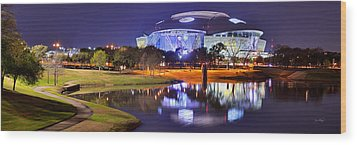 Wood Print featuring the photograph Dallas Cowboys Stadium At Night Att Arlington Texas Panoramic Photo by Jon Holiday