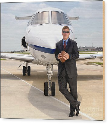 Dallas Cowboys Superbowl Quarterback Troy Aikman Wood Print by David Perry Lawrence