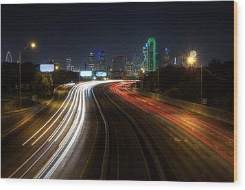 Dallas Night Light Wood Print