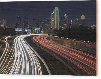 Dallas Night Wood Print by Rick Berk
