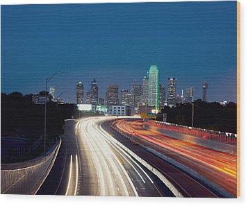 Dallas Night Skyline Light Trails Wood Print