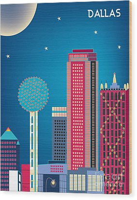 Dallas Nightime Skyline Wood Print by Karen Young