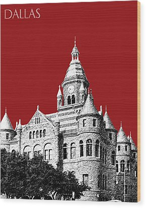 Dallas Skyline Old Red Courthouse - Dark Red Wood Print