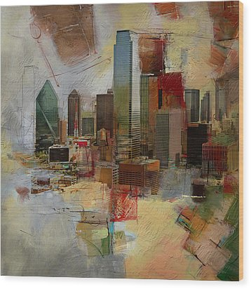 Dallas Skyline 003 Wood Print by Corporate Art Task Force