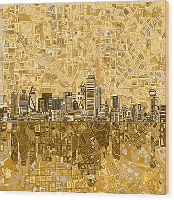 Dallas Skyline Abstract 6 Wood Print