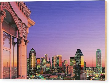 Dallas Skyline At Dusk Wood Print by David Perry Lawrence