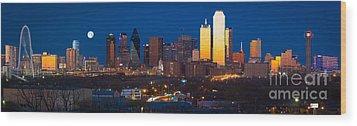 Dallas Skyline Panorama Wood Print by Inge Johnsson