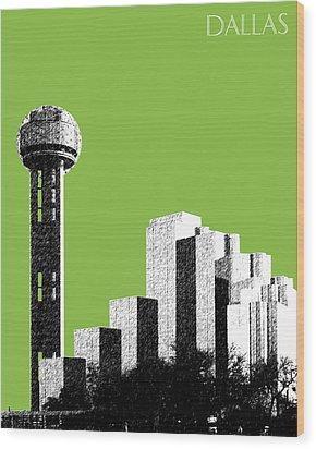 Dallas Skyline Reunion Tower - Olive Wood Print by DB Artist