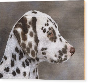 Dalmatian Puppy Painting Wood Print by Rachel Stribbling