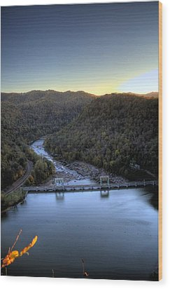 Wood Print featuring the photograph Dam Across The River by Jonny D