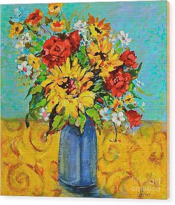 Damask Sunflowers Wood Print