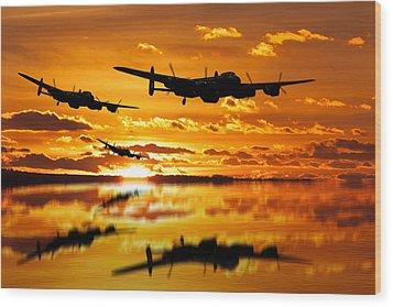 Dambusters Avro Lancaster Bombers Wood Print by Ken Brannen