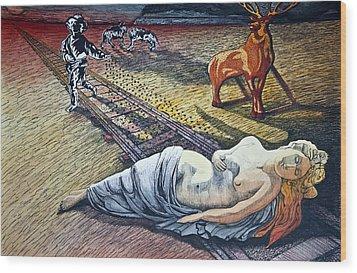 Damsel In Distress Wood Print by Larry Butterworth