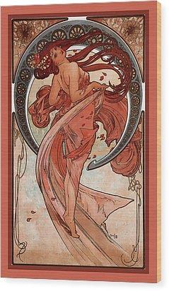 Dance Wood Print by Alphonse Maria Mucha