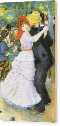 Dance At Bougival Wood Print by Pierre Auguste Renoir