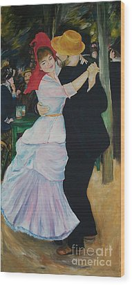 Wood Print featuring the painting Dance At Bougival Renoir by Eric  Schiabor