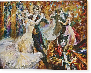 Dance Ball Of Cats  Wood Print by Leonid Afremov