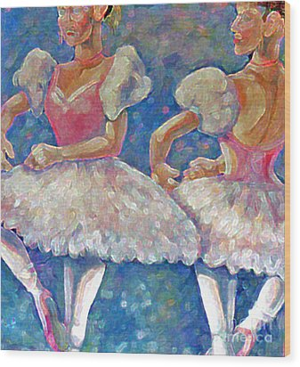 Wood Print featuring the painting Dance Ballerina by Rita Brown