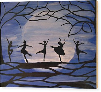Dance By The Light Of The Moon Wood Print by Rachel Olynuk