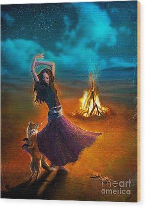 Dance Dervish Fox Wood Print by Aimee Stewart