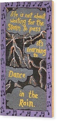 Dance In Rain Wood Print by Yvonne  Kroupa