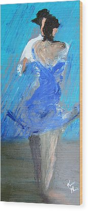 Wood Print featuring the painting Dance In The Rain by Keith Thue